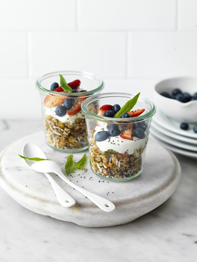 Chia Seed Toasted Muesli with Yoghurt and Berries